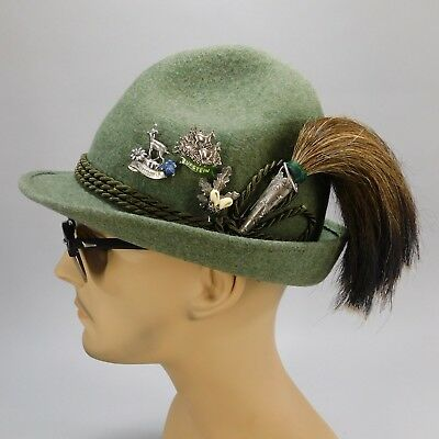 Vintage WISKO Oktoberfest Bavarian Wild Boar Brush Hunters Hat & German Hat Pins