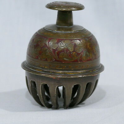 """Vintage Brass Elephant Claw Temple Bell Ornate Enamel Tooled Floral 3¾"""" ~ India"""