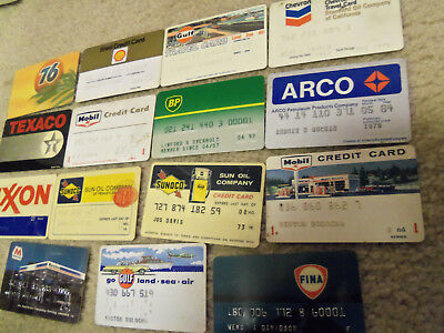 Old Gas Station Oil  Credit Cards, Sunoco, Mobil, Gulf, Misc. Lot- 15 Different