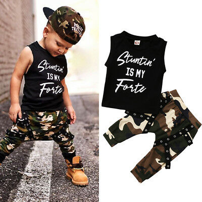 US Stock Toddler Kids Baby Boys Tops T-shirt Camo Pants 2Pcs Outfits Set Clothes