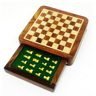 """Magnetic Travel Chess set with Drawer 5"""" Golden Rosewood Sheesham wood"""