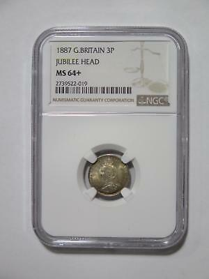 Great Britain 1887 3 Pence Toned Silver Type Ngc Ms64+ World Coin Collection Lot