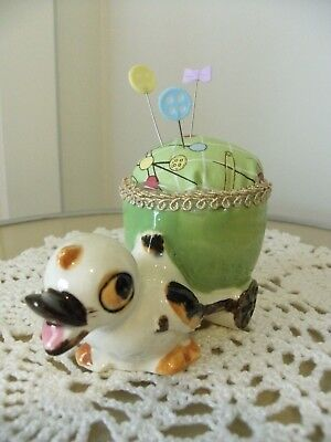 Handmade pin cushion keep up-cycled vintage retro sewing gift duck eggcup green