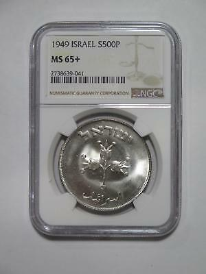 Israel 1949 500 Pruta Silver Crown Ngc Ms65+ Silver World Coin Collection Lot
