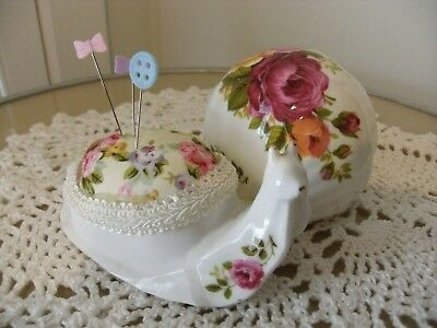 Handmade pin cushion keep up-cycled vintage retro sewing gift porcelain snail