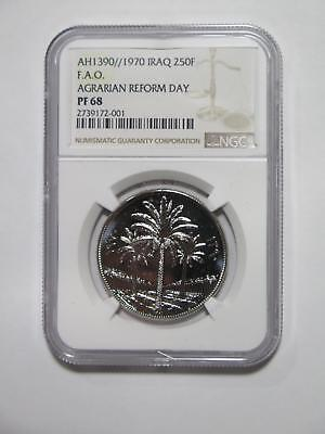 Ah1390/ 1970 250 Fils Proof Reform Ngc Pf68 Silver Old World Coin Collection Lot