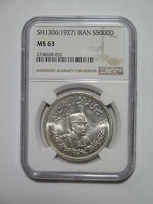 Sh1306/ 1927 5000 Dinars Silver Crown Type Ngc Ms63 World Coin Collection Lot