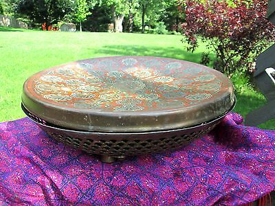 Vtg Antique Middle Eastern Foot Warmer Brass Stool Enamel Etched Red Coal Holder