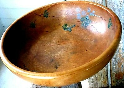 Antique Wood Dough Bread Bowl Patina Vintage Tole Farmhouse Vines Primitive Art