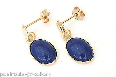 9ct Gold Lapis Lazuli Drop earrings Gift Boxed Made in UK