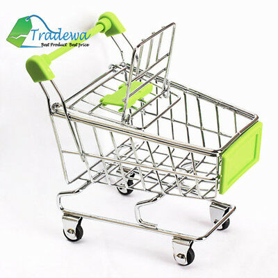 Mini Aluminum Metal Trolley Grocery Basket Shopping Cart Rolling with Wheels Toy