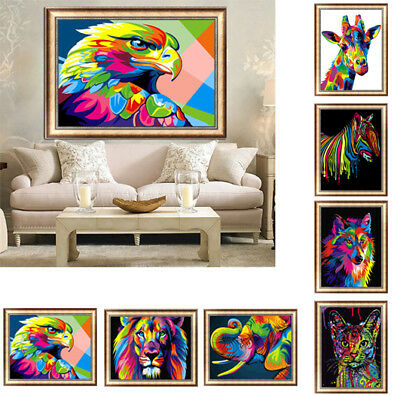 DIY 5D Diamond Painting Embroidery Animals Colorful Cross Craft Stitch Kit Decor