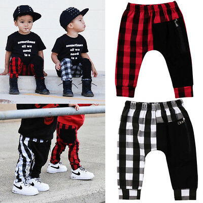 Casual Toddler Kids Boys Plaid Zipper Bottom Pants Panty Harem Pants Trousers
