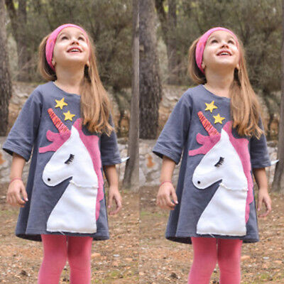 US Stock Princess Kids Baby Girls Pageant Dress Sundress Unicorn Dresses Casual
