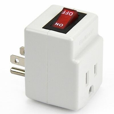 3 Prong Grounded Single Port Power Adapter With Red Indicator On/Off Switch, NEW