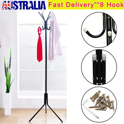 8 Hook Coat Hanger Stand 2-Tier Hat Clothes Rack Metal Tree Style Storage Black