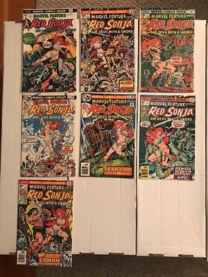 MARVEL FEATURE PRESENTS RED SONJA (Marvel 1975) Complete Series #1-7 VF!