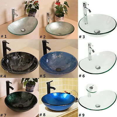 Bathroom Tempered Glass Vessel Sink Bowl Faucet Drain Combo Round/ Oval Artistic