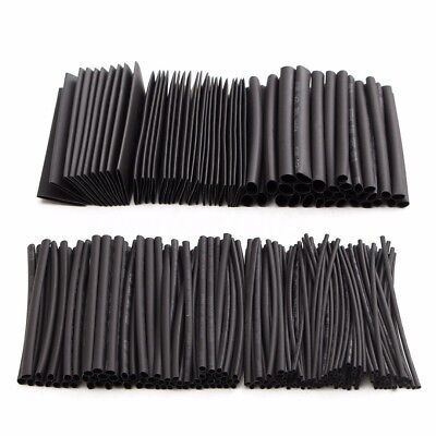 218pcs Heat Shrink Sleeving Tubing Wire Cable Tube Assortment Kit Black 80mm New