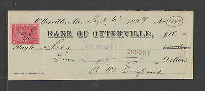 1897-99 BANK OF OTTERVILLE MO w/ REVENUE STAMP ANTIQUE BANK CHECK VAR #3