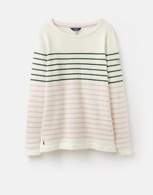 Joules 124603 Seaham Womens Knitted Jumper in Textured Bretton in Cream Stripe