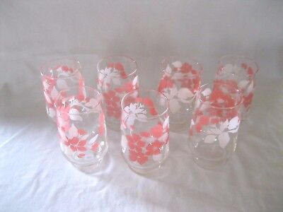 Vintage Floral Pink and White Leaves Juice Tumblers Set of 7 Glasses