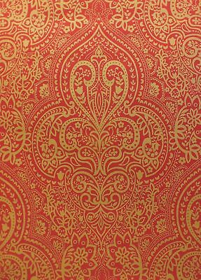 Paste The Wall Indian Asian Inspired Damask Wallpaper In Red Gold