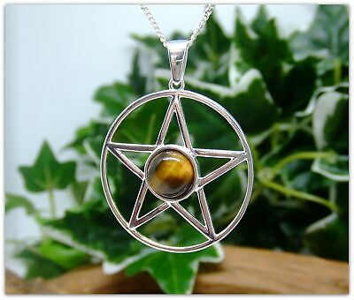 "Pentagram Tigers Eye Sterling Silver Necklace Gemstone Pendant 18"" silver chain"