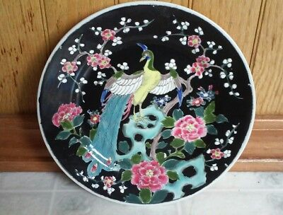 Stoneware Peacock Plate Hand Glazed Bright Colors On Black Ground - Japan Signed