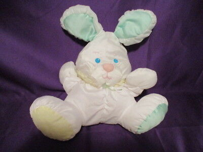 """Fisher Price Puffalumps Bunny Rabbit Rattle no Foot Logo 13"""" 1988 tag readable"""