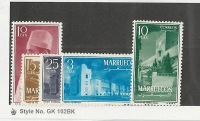 Morocco Northern Zone, Postage Stamp, #1-3, 7-8 Mint Hinged, 1956