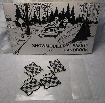 1976 Vintage Snowmobile Safety Hand Book Manual & 2 Black & White Flag Decals