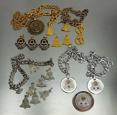 Vtg Lot C&P Telephone Sterling 10K 12K GF Charms Bracelets Pins Pendant Bell