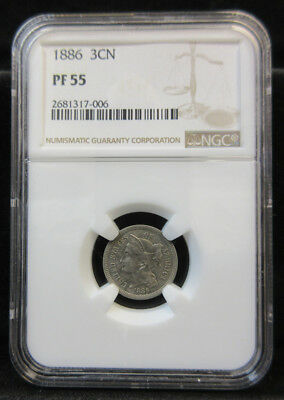 1886 Three Cent Nickel PF55 by NGC, Key Date
