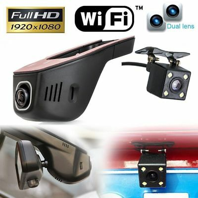 WiFi Hidden 1080P FHD Dual Lens Car DVR  Dash Cam Rear Camera Video Recorder APP