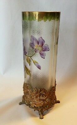 "Amazing 11"" Art Nouveau Cameo Glass Vase Enameled Flowers Bronze Metal Base"