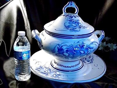 Floral White & Blue  Footed Covered Soup Serving Bowl & Round Tray, Portugal