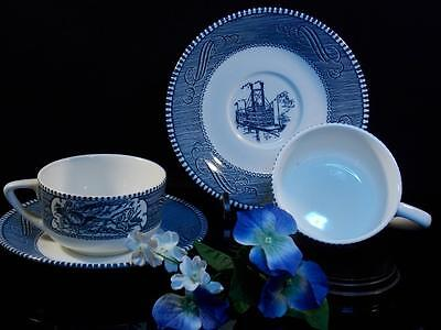 Currier Ives Royal China Blue & White 2 Coffee cup & 2 saucers Old Grist Mill