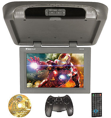 "Rockville RVD17HD Grey-GR 17"" Flip Down Car Monitor w DVD/HDMI/USB/SD/Games Gray"