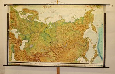 Wandkarte Sowjetunion Russland Sibirien Taiga 245x151cm vintage Russia map ~1960