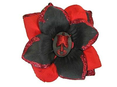 Hairy Scary Black & Red Glitter Red Skeleton Torso Annatommy Cameo Hair Clip