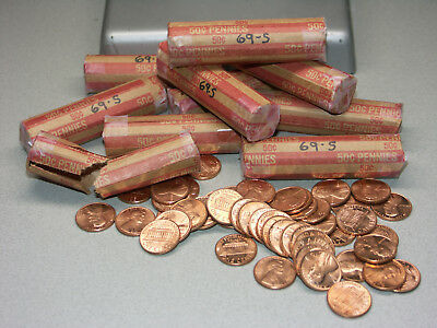 1969-S Bu Roll Lincoln Penny Cents From Old Collection In Storage From Mint Bag