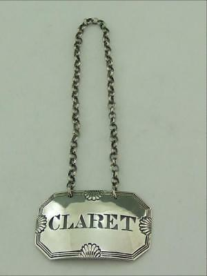 Antique Solid Silver Wine / Decanter Label Claret Phipps / Robinson 1819