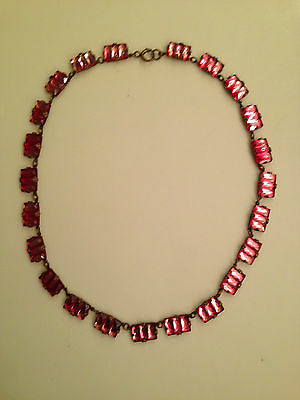 "Vintage/antique Authentic Art Deco Czech Pink Mirror Glass Necklace. 16"" Long."
