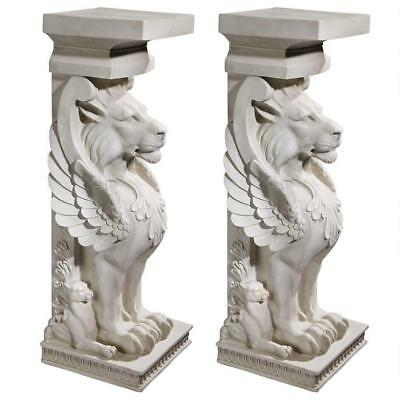 Set of 2: Architectural Stylized Winged Lions Home Garden Pedestal Plant Stand