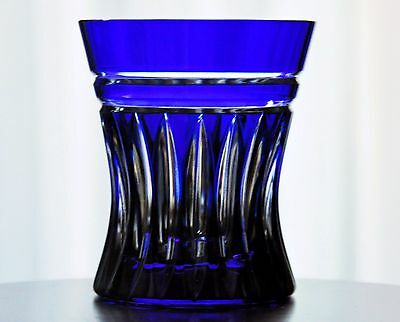 1 Faberge NA ZDOROVYE Cobalt Blue Cut to Clear Cased Crystal DOF Whiskey Glass