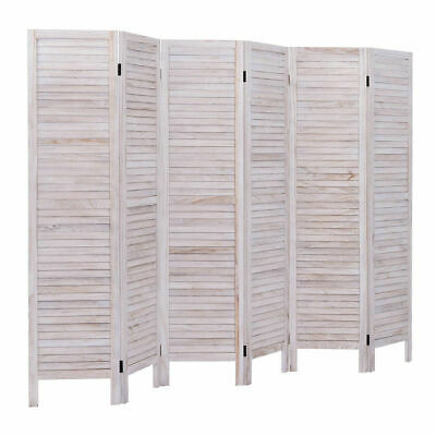 6 Panel Room Divider Furniture Classic Venetian Wooden Slat Home 67 in. Tall
