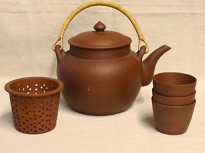 Unique Chinese Terra Cotta Red Brown Clay Teapot Infuser  3 Cups Fit Inside Mark