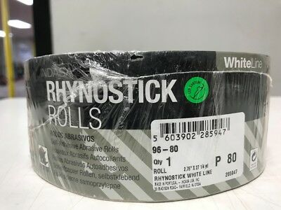 "Rhynostick White Line P 80 Grit Sandpaper Roll Self Adhesive 2.75"" X 27 1/4 Yard"