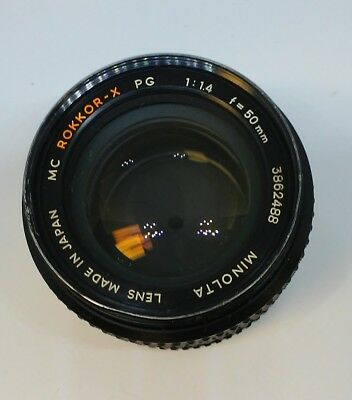 Minolta MC Rokkor-X PG 50mm f/1.4 Lens mint glass